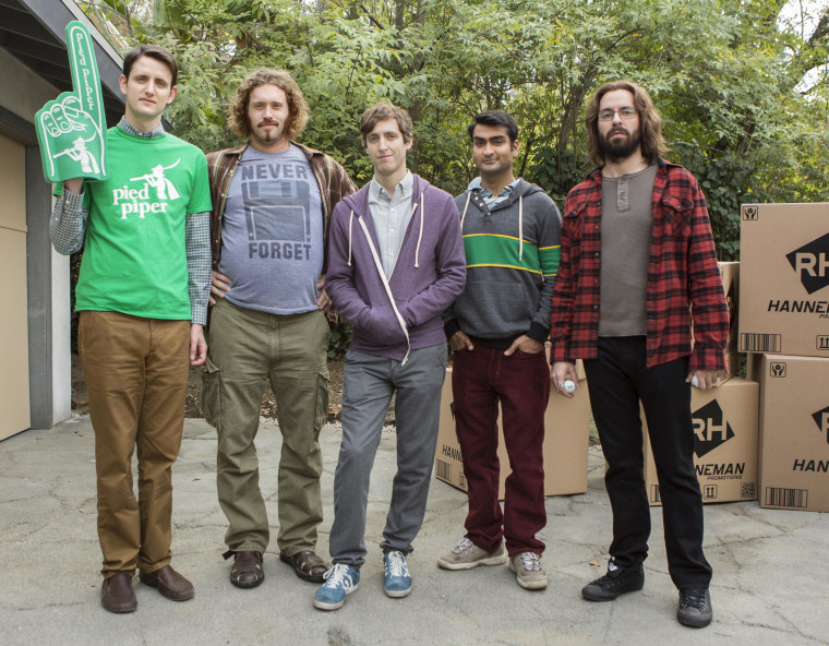The stars of SILICON VALLEY (L-R): Zach Woods, T.J. Miller, Thomas Middleditch, Kumail Nanjiani, Martin Starr.