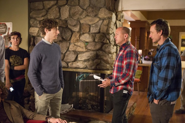 """Actor Thomas Middleditch with executive producers Mike Judge and Alec Berg on the set of """"Silicon Valley."""""""
