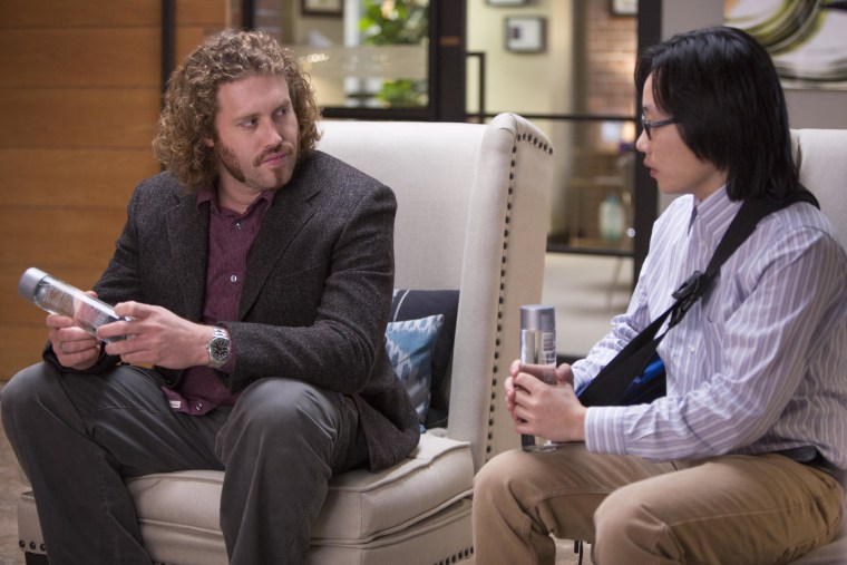 """T.J. Miller and Jimmy O. Yang on the set of """"Silicon Valley."""""""