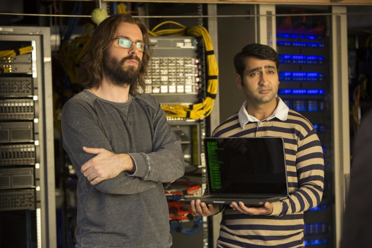 """Martin Starr and Kumail Nanjiani on the set of """"Silicon Valley."""""""