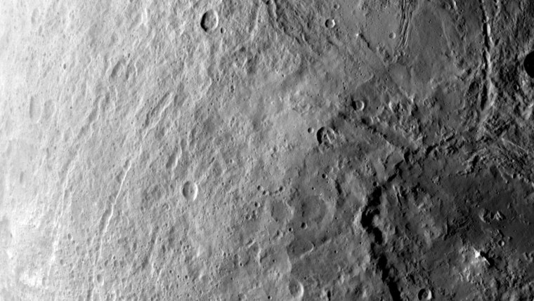 Craters stud the northern hemisphere of Ceres.