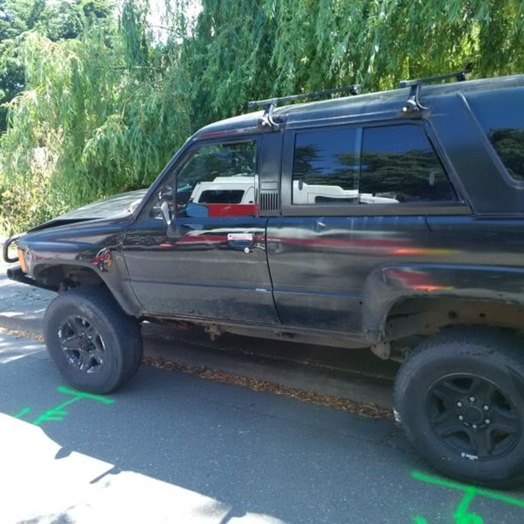This photo posted by Washington State Police Trooper Mark Francis shows the SUV that struck the students.