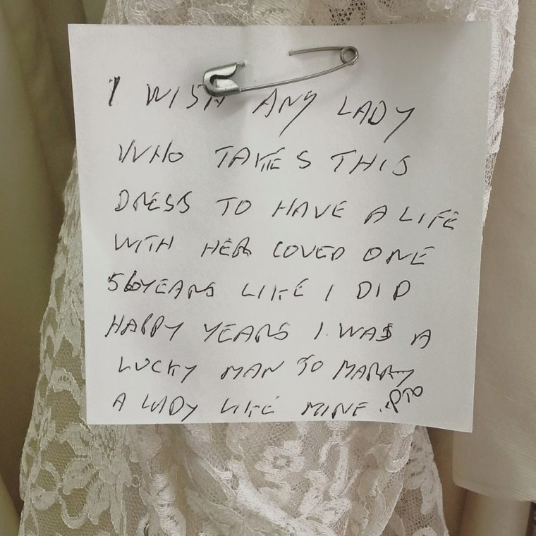 Image: The handwritten note was found pinned to the dress
