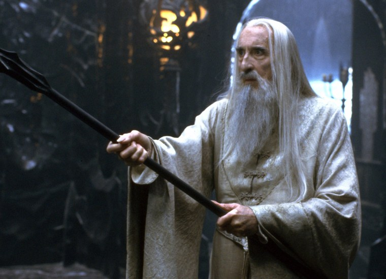 "Sir Christopher Lee plays the dark magician Saruman in ""The Lord of the Rings - The Fellowship of the Ring"" from 2001."