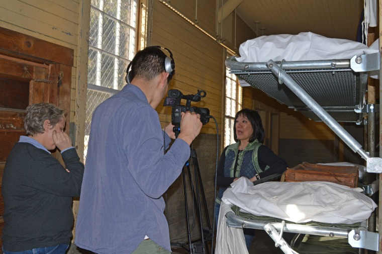 Anne Galisky (director) and Roland Dahwen Wu (cinematographer) interview Julie D. Soo while filming on location at Angel Island Immigration Station.