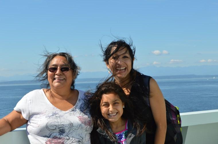 "Antonia Gallardo, Vanessa Lopez & Rosario Lopez during the filming of ""14."""