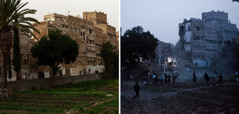 An undated photo of building in Old Town in Sanaa, Yemen, and the same area after an airstrike on June 12.