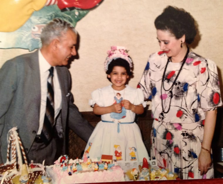 A childhood photo of Carmen Cusido with her parents in Union City, New Jersey.