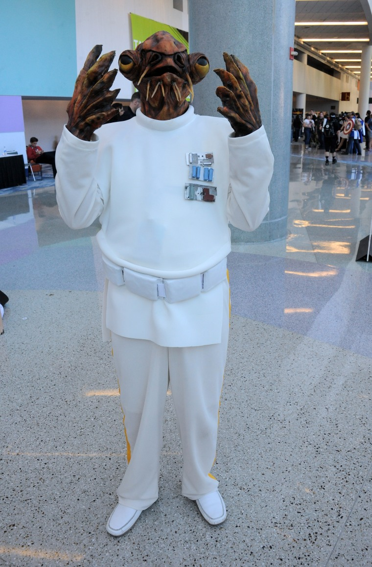 """This is a person dressed like Admiral Ackbar from the """"Star Wars"""" movies."""