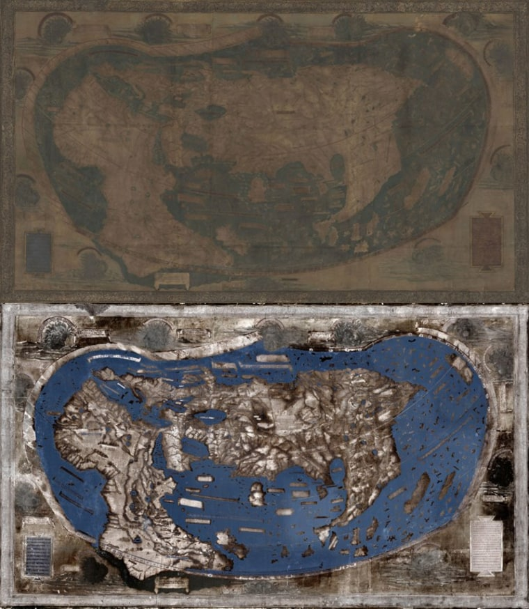 The Martellus map as it appears to the naked eye (top) and through multispectral imaging (bottom).