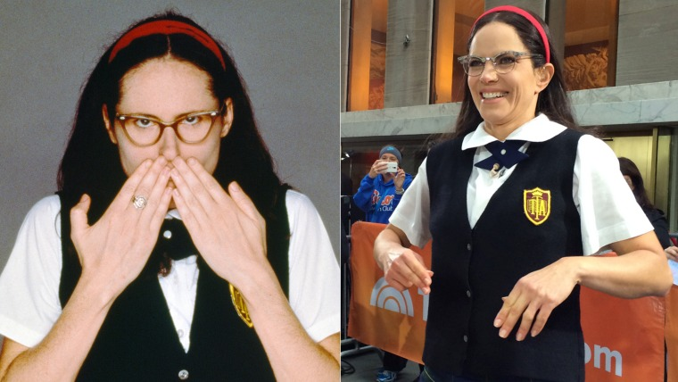 "Molly Shannon and TODAY's Natalie Morales, both portraying Shannon's ""SNL"" charachter Mary Katherine Gallagher"