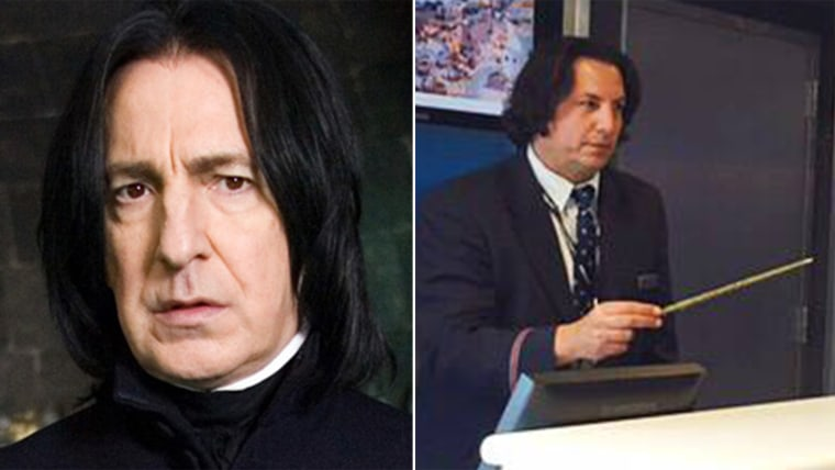 """Alan Rickman as Severus Snape in the """"Harry Potter"""" movie franchise; David Dolci, an American Airlines gate agent"""