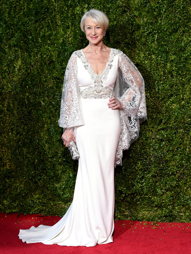 Helen Mirren arrives at the 69th annual Tony Awards