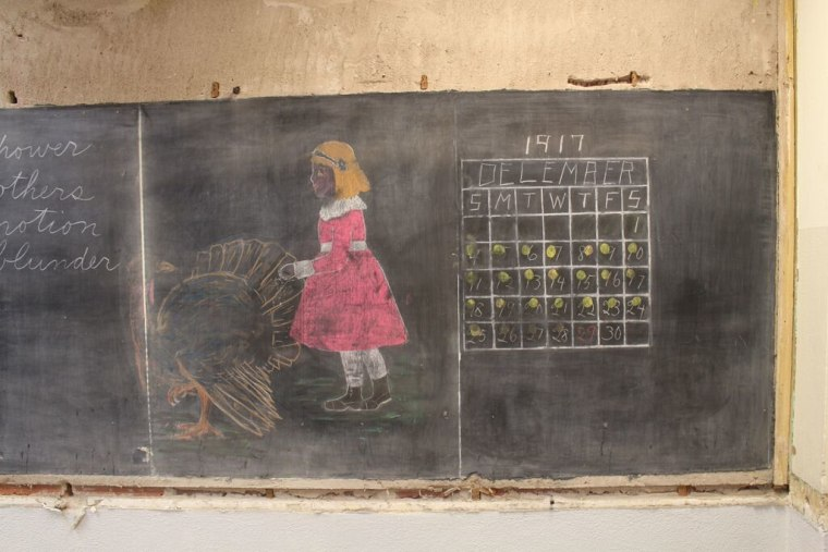 One chalkboard featured a girl with a turkey and a calendar from 1917.