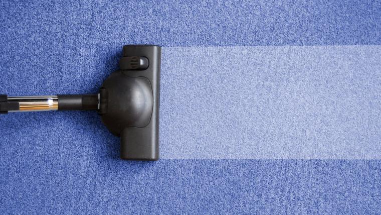 Vacuuming the carpet