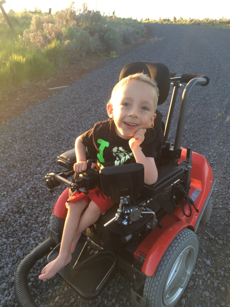 Four-year-old Logan Roninger, who was born with a neuromuscular disorder, soon may be riding in a souped-up wheelchair if an auction and other donors meet his family's goals.