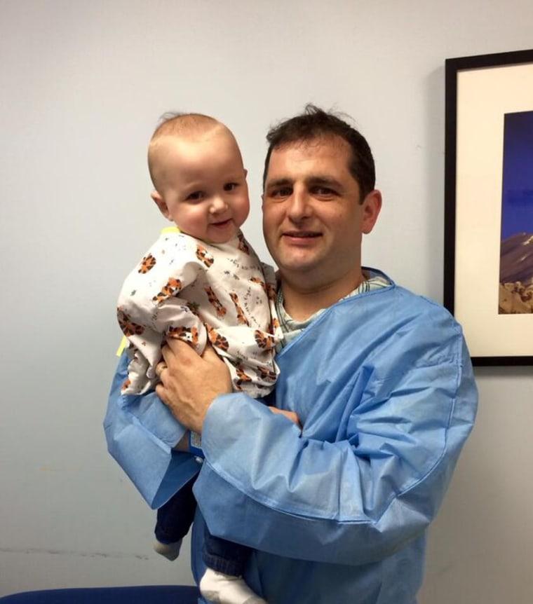 Logan and his dad Josh Kaplan before kidney transplant surgery.