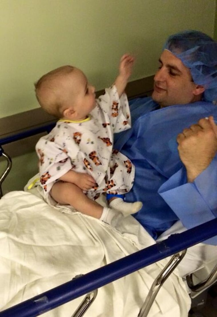 Father and son on surgery day.