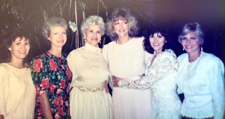 Muriel Clayton (third from left) with her five daughters