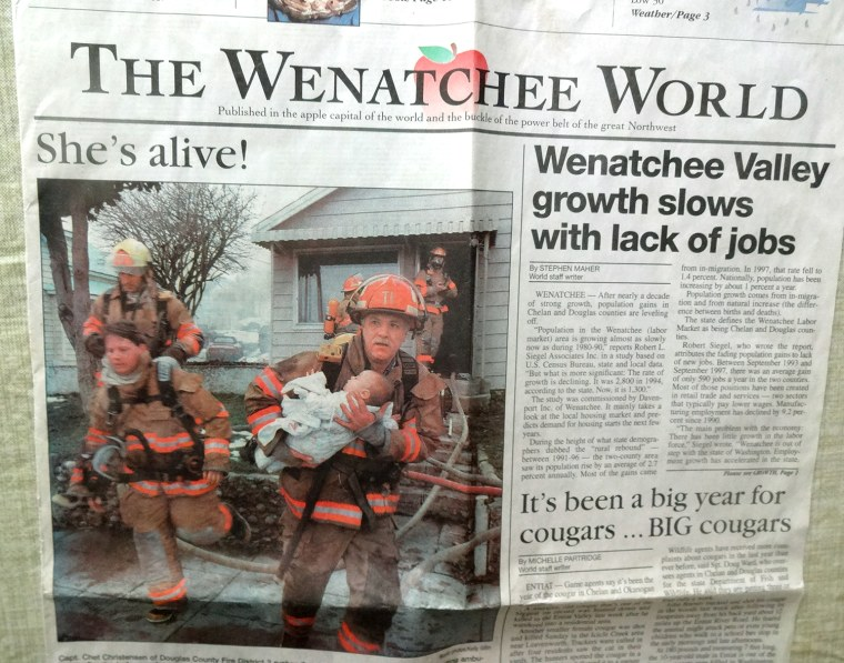 Wenatchee firefighter reunites with baby he saved 17 years ago.