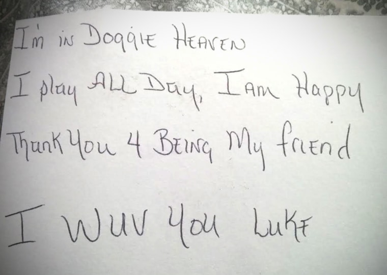 """Boy sends letter to """"Doggie Heaven"""" - and gets a tear-jerking response"""