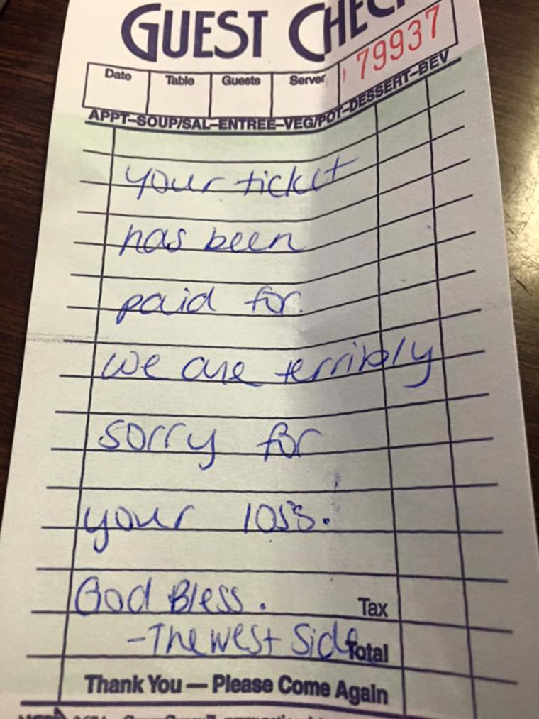 Waitress act of kindness