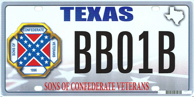 This image provided by the Texas Department of Motor Vehicles shows the design of a proposed Sons of Confederate Veterans license plate.
