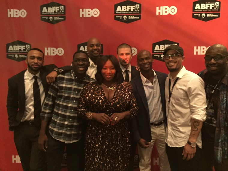 ABFF HBO Short Film Competition Finalists with host Bevy Smith (center) and Dennis Williams of HBO (right of center)
