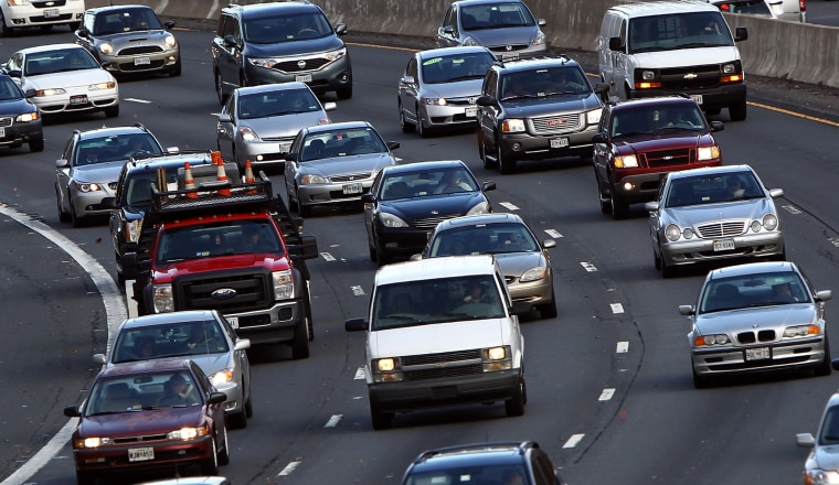 Traffic converges on highway I-495 South just west of the nation's capital on Nov. 23, 2011 in McLean, Virginia.