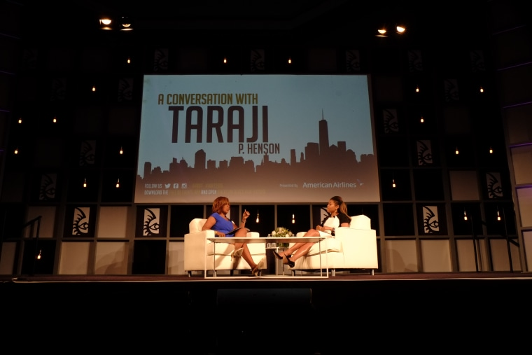 Gayle King moderating the conversation with Taraji P. Henson at the 2015 American Black Film Festival in New York, NY.
