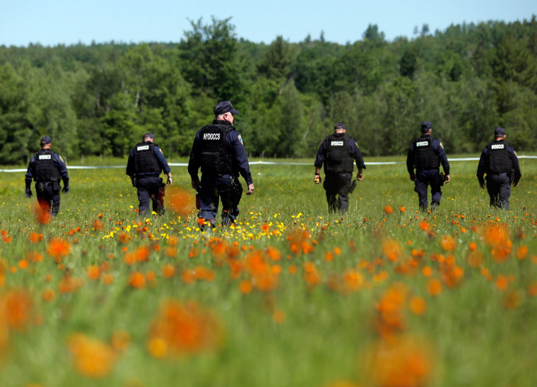 Image: Officers search in field