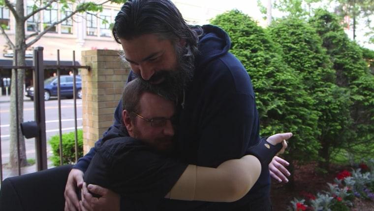 Will Lautzenheiser hugs Angel, his partner