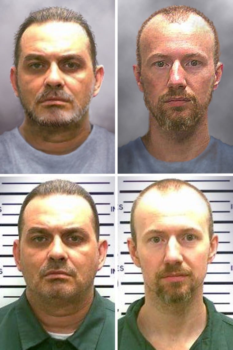 "New York State Police released these ""progression"" images, top, of escaped inmates Richard Matt, left, and David Sweat on June 17, that show what they may look like after 10 days on the run."
