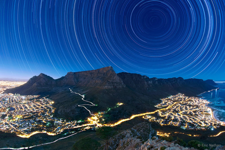 Image: Star Trails Above Table Mountain