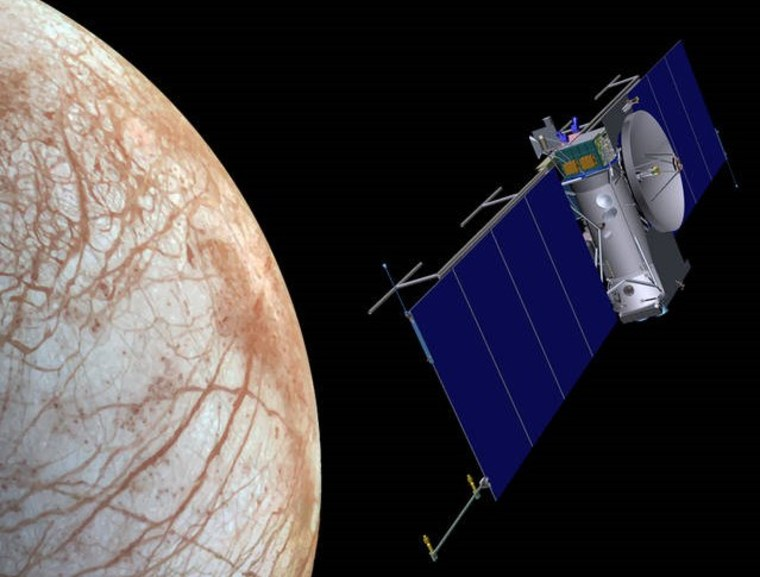 Artist's impression of a probe over the surface of Europa.