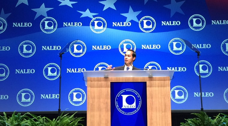 Caption: HUD Secretary Julian Castro addresses the National Association of Elected and Appointed Officials 2015 conference in Las Vegas.
