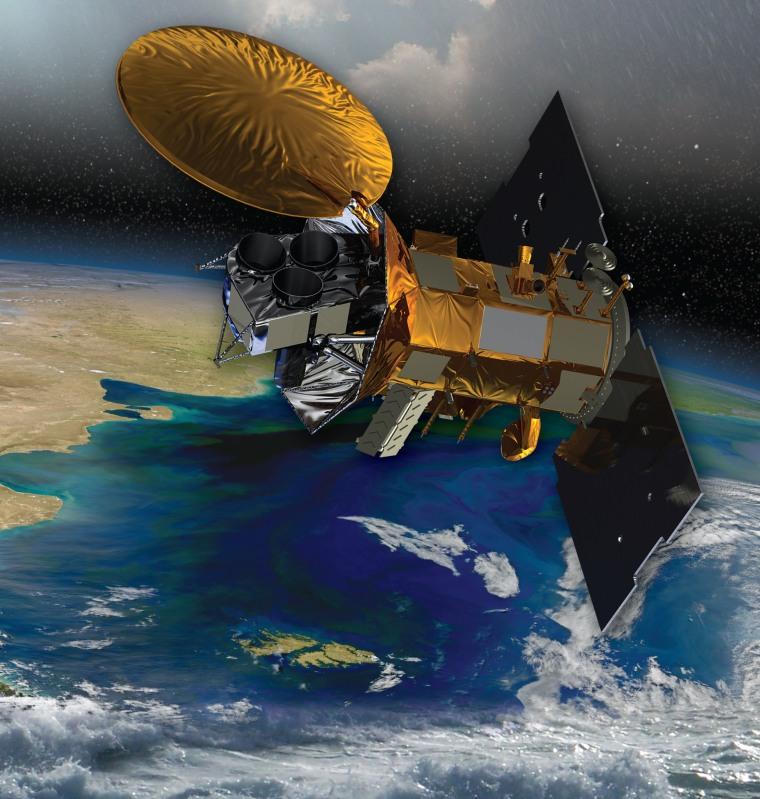 Image: Artist's rendering of the Aquarius/SAC-D satellite in orbit