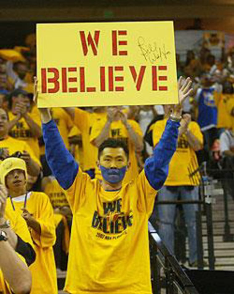 Paul Wong at Oracle Arena cheering his Golden State Warriors in 2007.