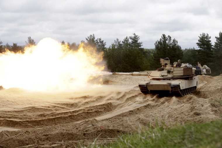 Image: Amrican M1A2 Abrams tank during exercise in Latvia on May 7, 2015