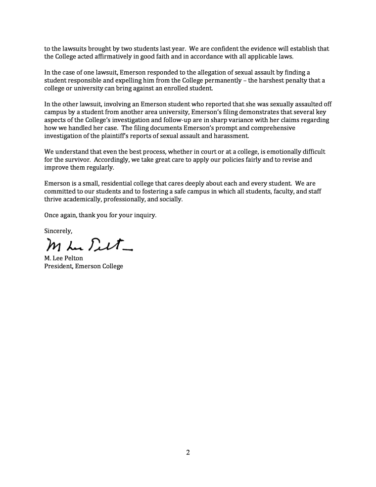 A letter from the President of Emerson College