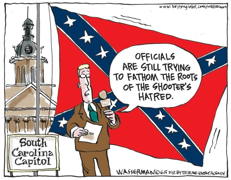 A political cartoon about the Charleston Shooting in the Boston Globe