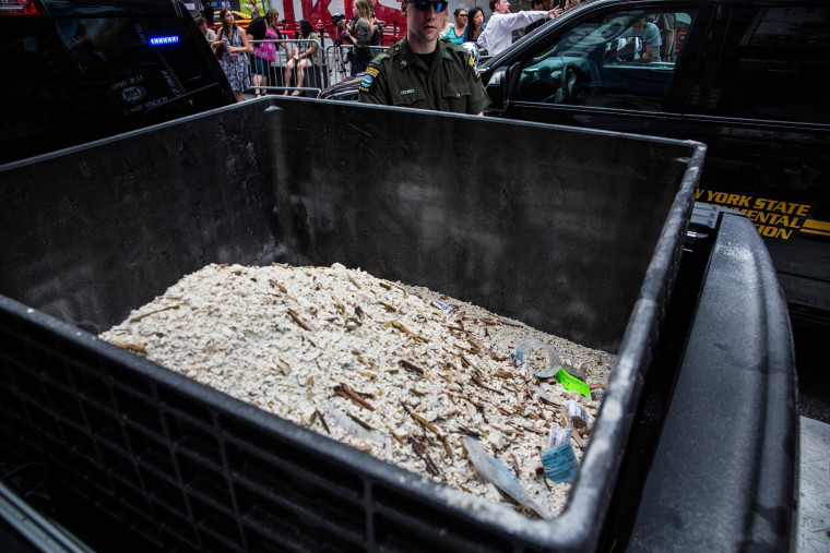 Image: Ivory dust, created by destroyed ivory trinkets confiscated by law enforcement, sits in a bucket in Times Square
