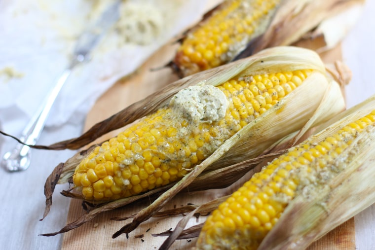 Grilled Corn with Za'atar-Garlic Butter