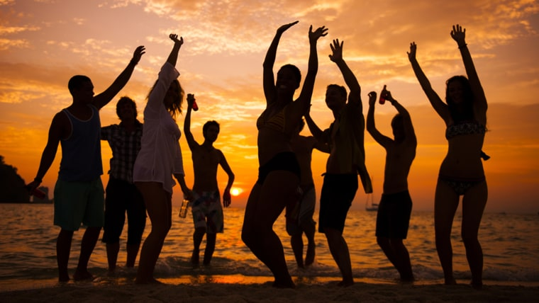 Stock art of dancing on the beach in summer