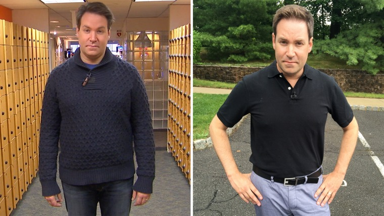 Before and after photos show NBC's Jeff Rossen's six months of weightloss, acheived with help from fitness correspondent Jenna Wolfe, from January to June of 2015