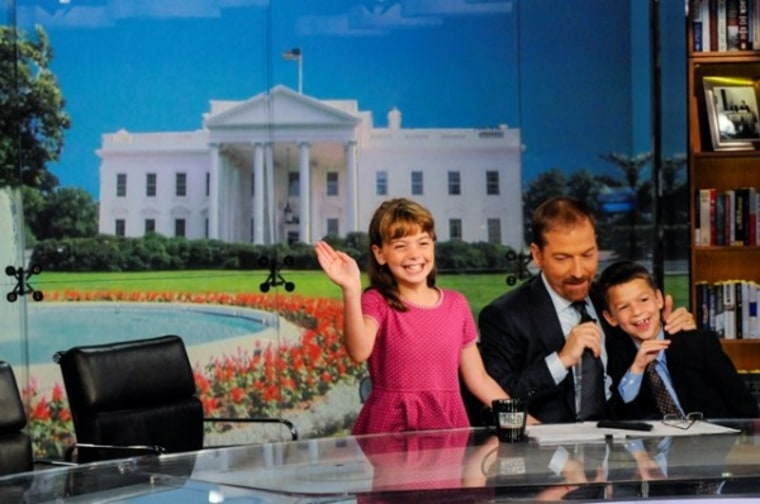 Chuck Todd, with his kids Margaret and Harrison, on the set of Meet the Press.