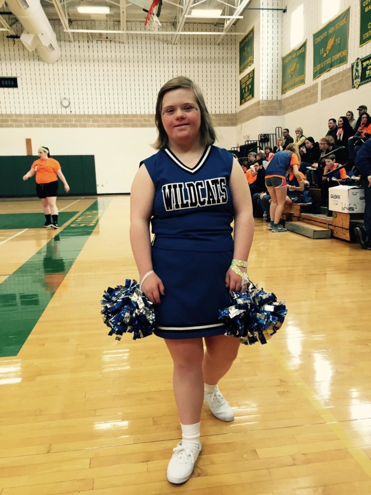 Katie Dorman's hobbies include cheerleading at Suffield High School, where students have made her feel at home, according to her mother, Pam Dorman.