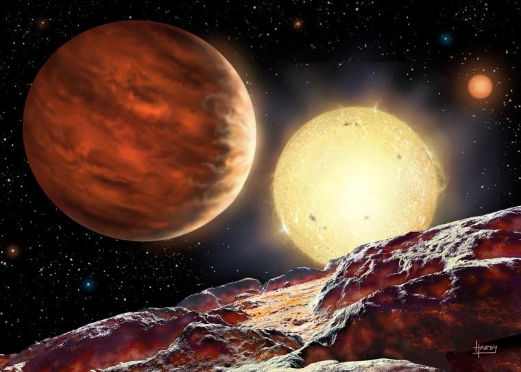 Artist's impression of Tom's planet, WASP-142b, orbiting its star, WASP-142.