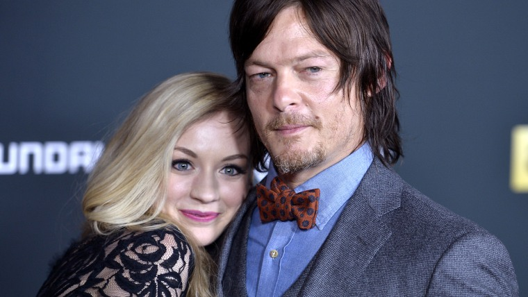 Actors Emily Kinney and Norman Reedus
