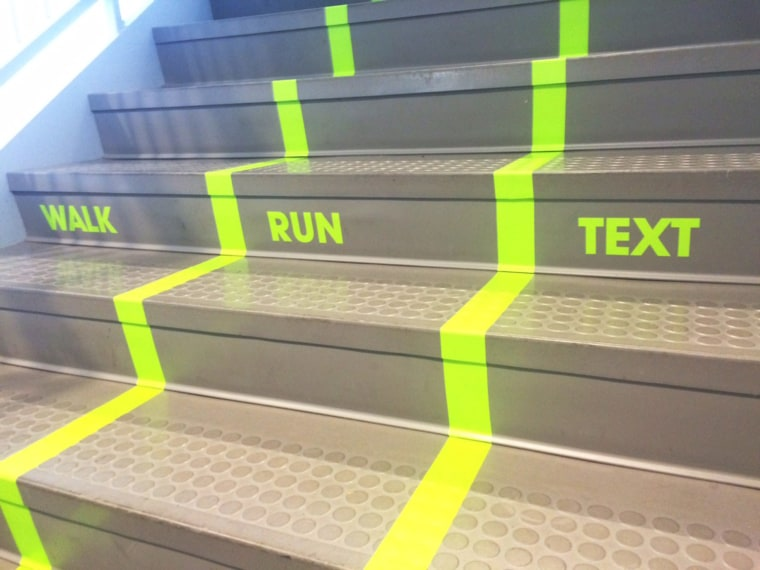 "A college has created a ""texting lane"" in its student center."